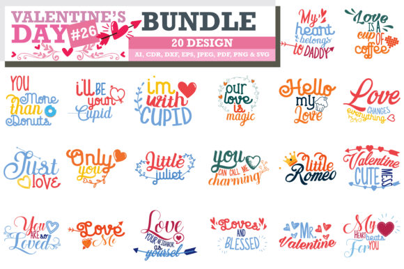 Print on Demand: Valentine's Day SVG Bundle Grafik Designvorlagen von TheLucky