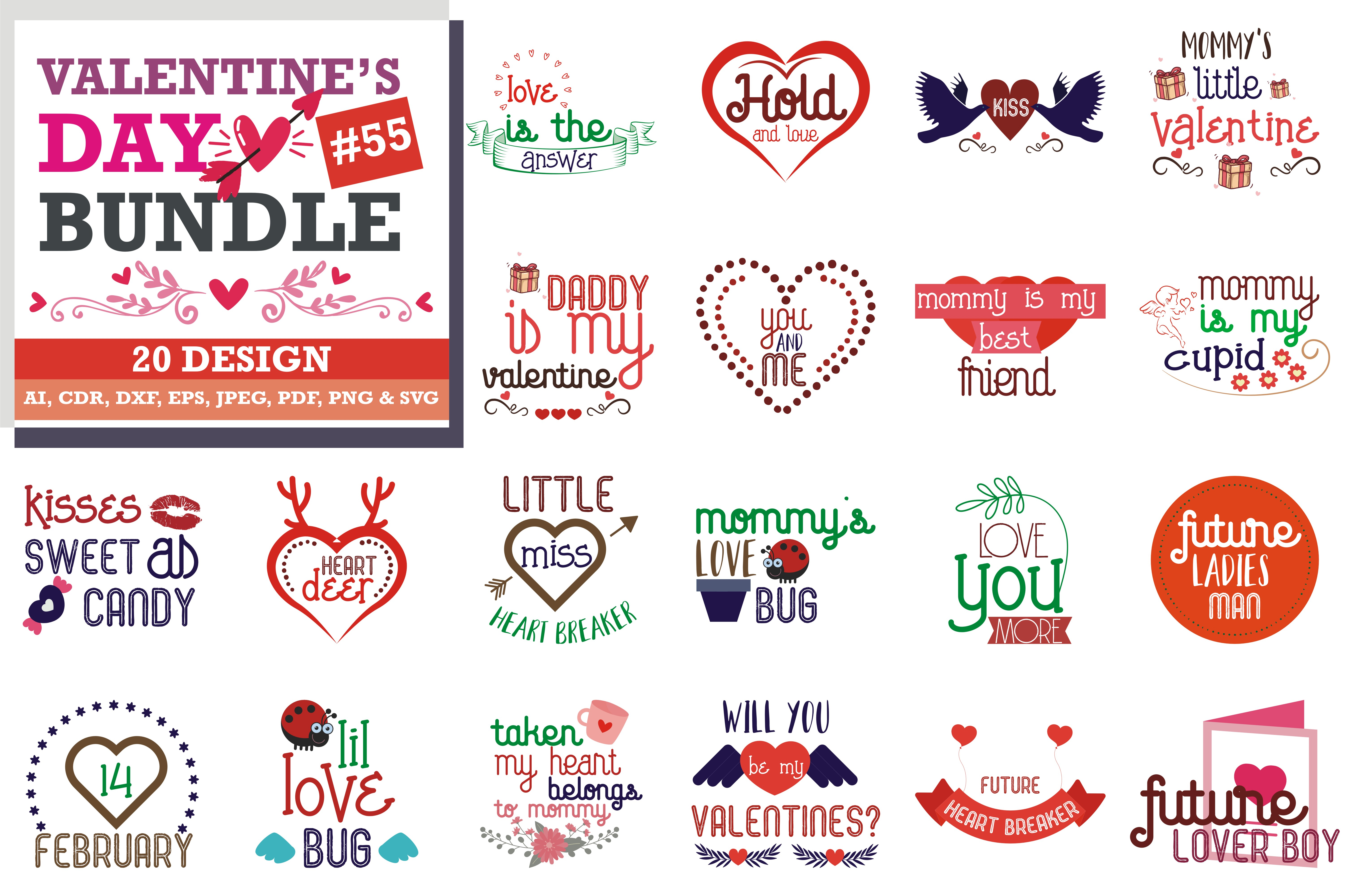 Download Free Valentine S Day Bundle Graphic By Thelucky Creative Fabrica for Cricut Explore, Silhouette and other cutting machines.