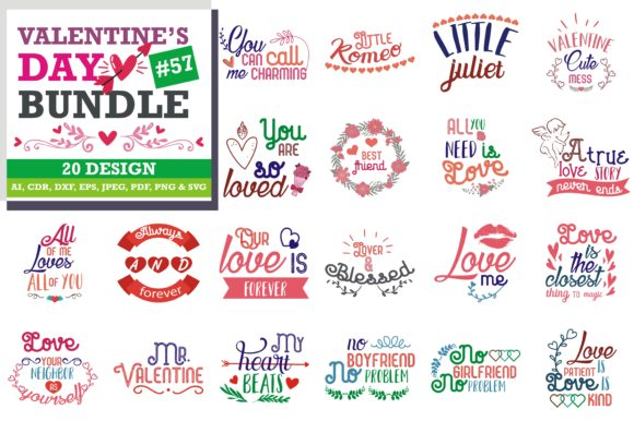 Print on Demand: Valentine's Day SVG Bundle Gráfico Crafts Por TheLucky