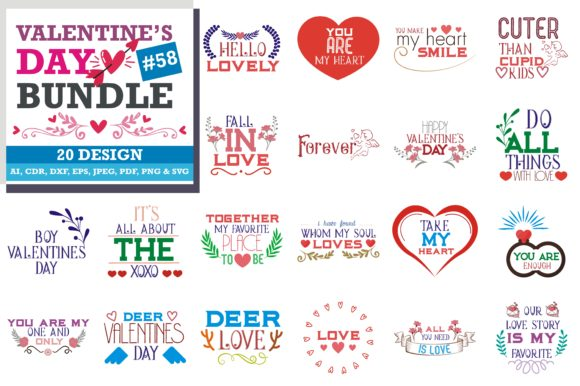 Print on Demand: Valentine's Day SVG Bundle Graphic Crafts By TheLucky - Image 1