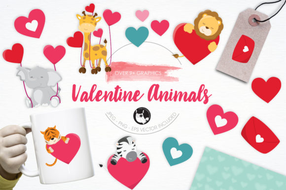 Print on Demand: Valentine Animals Set Graphic Illustrations By Prettygrafik