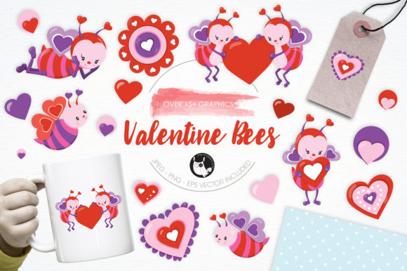 Print on Demand: Valentine Bees Pack Graphic Illustrations By Prettygrafik