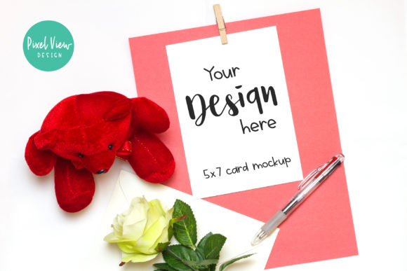 Print on Demand: Valentine Card Mockup Graphic Product Mockups By Pixel View Design