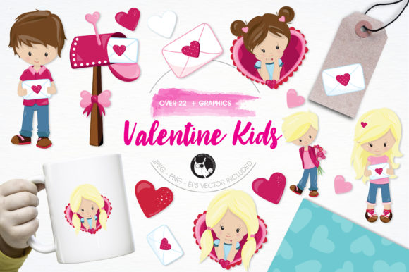 Print on Demand: Valentine Kids Set Graphic Illustrations By Prettygrafik - Image 1