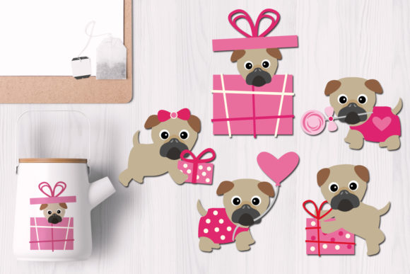 Print on Demand: Valentine Pugs Graphic Illustrations By Revidevi