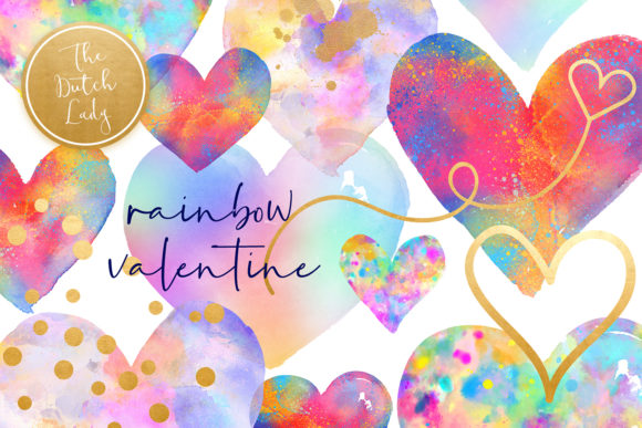 Print on Demand: Valentine Rainbow Heart Clipart Set Graphic Crafts By daphnepopuliers