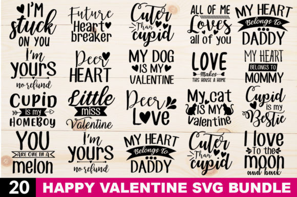 Print on Demand: Valentine SVG Bundle BLACK Version Gráfico Crafts Por DesignFarm