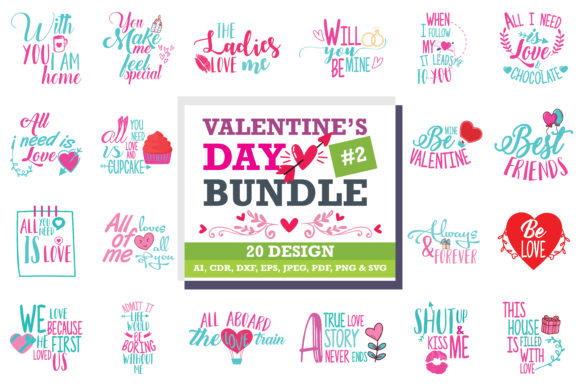 Download Free Valentine Bundle Graphic By Thelucky Creative Fabrica for Cricut Explore, Silhouette and other cutting machines.