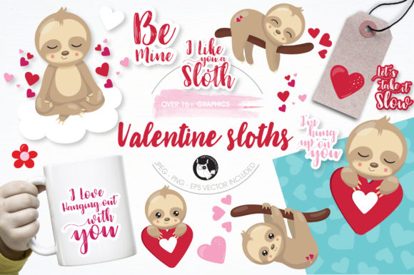 Print on Demand: Valentine Sloths Graphic Illustrations By Prettygrafik