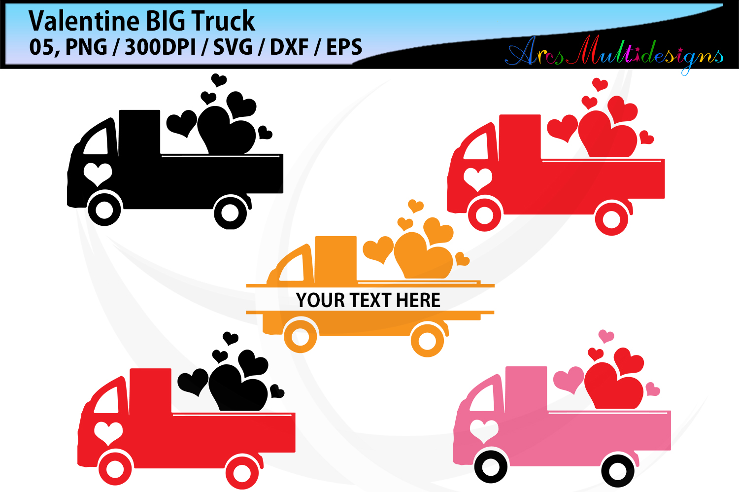 Download Free Valentine Truck Graphic By Arcs Multidesigns Creative Fabrica for Cricut Explore, Silhouette and other cutting machines.