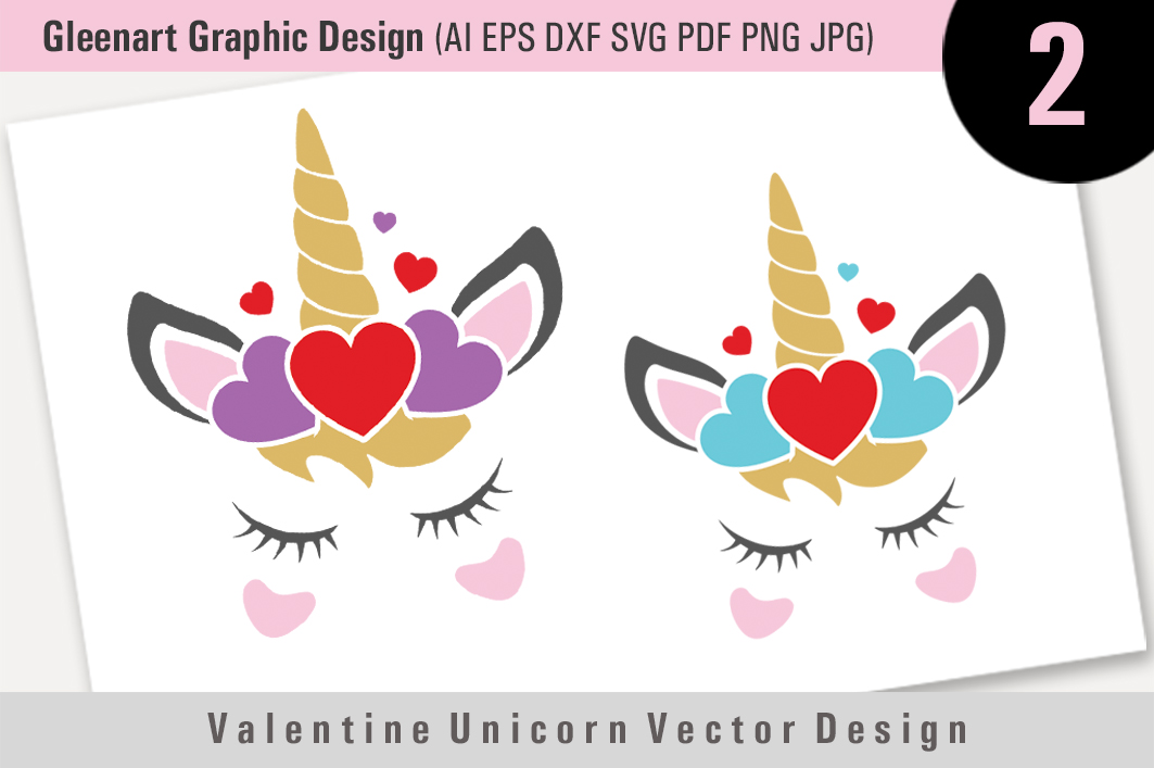 Download Free Valentine Unicorn Vector Design Graphic By Gleenart Graphic for Cricut Explore, Silhouette and other cutting machines.