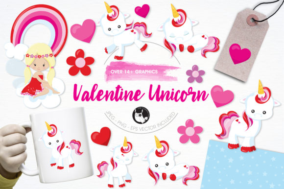 Print on Demand: Valentine Unicorn Graphic Illustrations By Prettygrafik