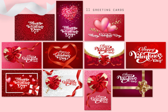 Valentine Vector Greeting Cards Graphic Illustrations By Happy Letters - Image 2