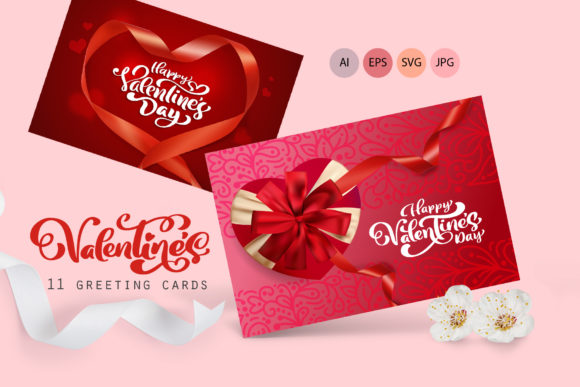 Valentine Vector Greeting Cards Graphic Illustrations By Happy Letters - Image 1