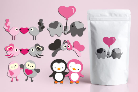 Print on Demand: Valentine Animals Grafik Illustrationen von Revidevi