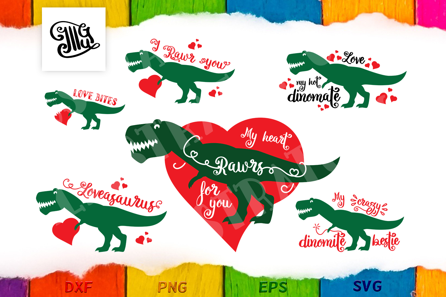 Download Free Valentine Dinosaur Bundle Graphic By Illustrator Guru Creative for Cricut Explore, Silhouette and other cutting machines.