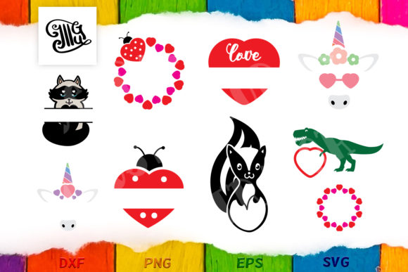 Valentine Monogram Frame Svg Bundle for Kids Grafik Plotterdateien von Illustrator Guru
