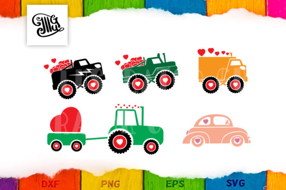 Valentine Truck Svg Bundle Gráfico Crafts Por Illustrator Guru