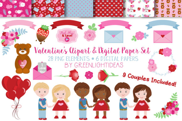 Valentine's Day Clipart Graphic Illustrations By GreenLightIdeas