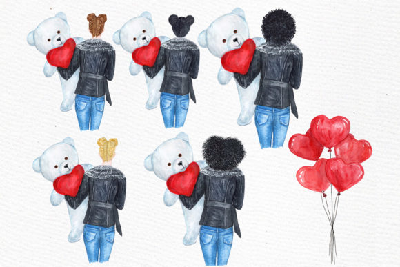 Valentines Day Girls Clipart Graphic Illustrations By LeCoqDesign - Image 5