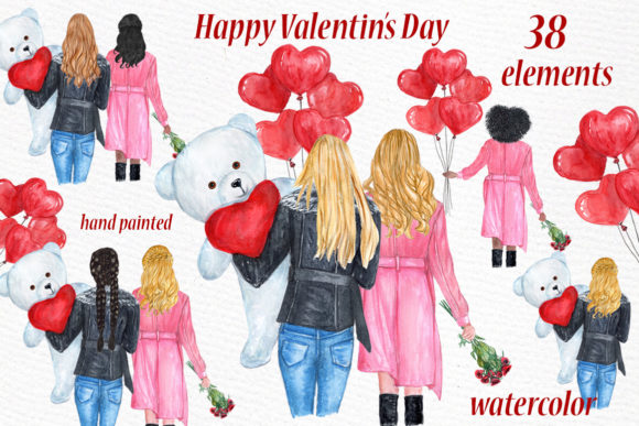 Valentines Day Girls Clipart Graphic Illustrations By LeCoqDesign
