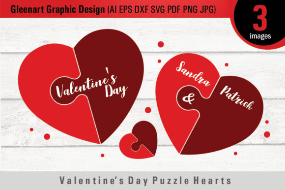 Download Free Valentine S Day Puzzle Hearts Graphic By Gleenart Graphic Design for Cricut Explore, Silhouette and other cutting machines.