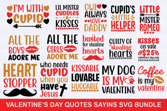 Print on Demand: Valentine's Day Bundle Graphic Illustrations By svgbundle.net