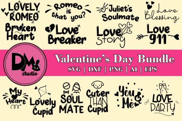 Download Free Valentine S Day Bundle Graphic By Patricia Dmstd Creative for Cricut Explore, Silhouette and other cutting machines.