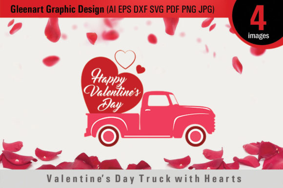 Download Free Valentine S Day Truck With Hearts Graphic By Gleenart Graphic for Cricut Explore, Silhouette and other cutting machines.