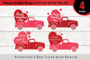 Valentine's Day Truck with Hearts Graphic By Gleenart Graphic Design