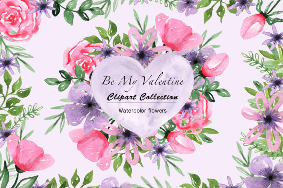 Print on Demand: Valentine's Day Watercolor Clipart Collection Graphic Illustrations By tanatadesign