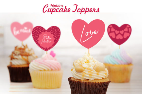 Valentine's Printable Cupcake Toppers (Hearts). Graphic Crafts By danieladoychinovashop
