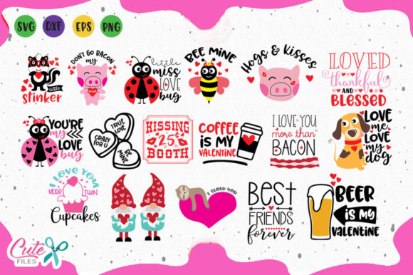 Valentines Quotes Bundle Gráfico Ilustraciones Por Cute files