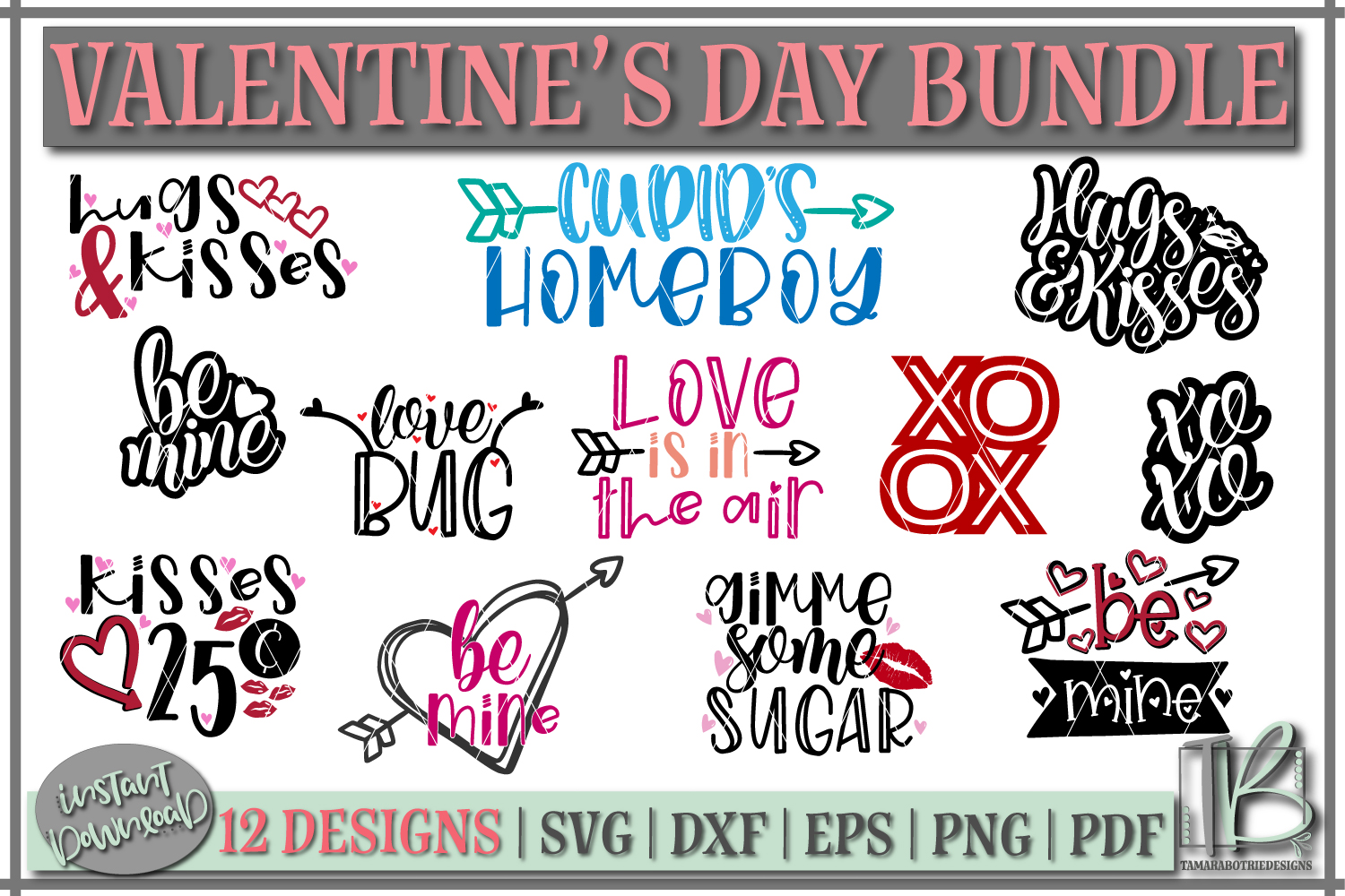 Download Free Valentine S Bundle Graphic By Tamarabotriedesigns Creative Fabrica for Cricut Explore, Silhouette and other cutting machines.