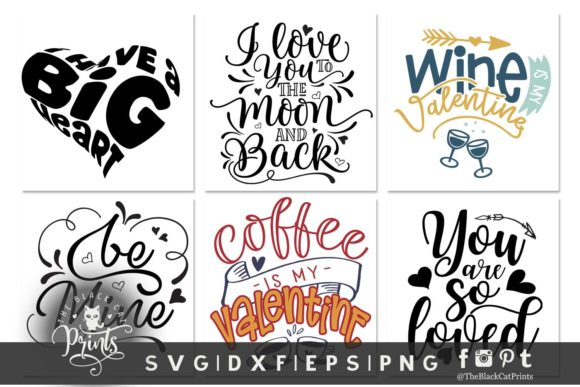 Download Free Valentine S Bundle Graphic By Theblackcatprints Creative Fabrica for Cricut Explore, Silhouette and other cutting machines.