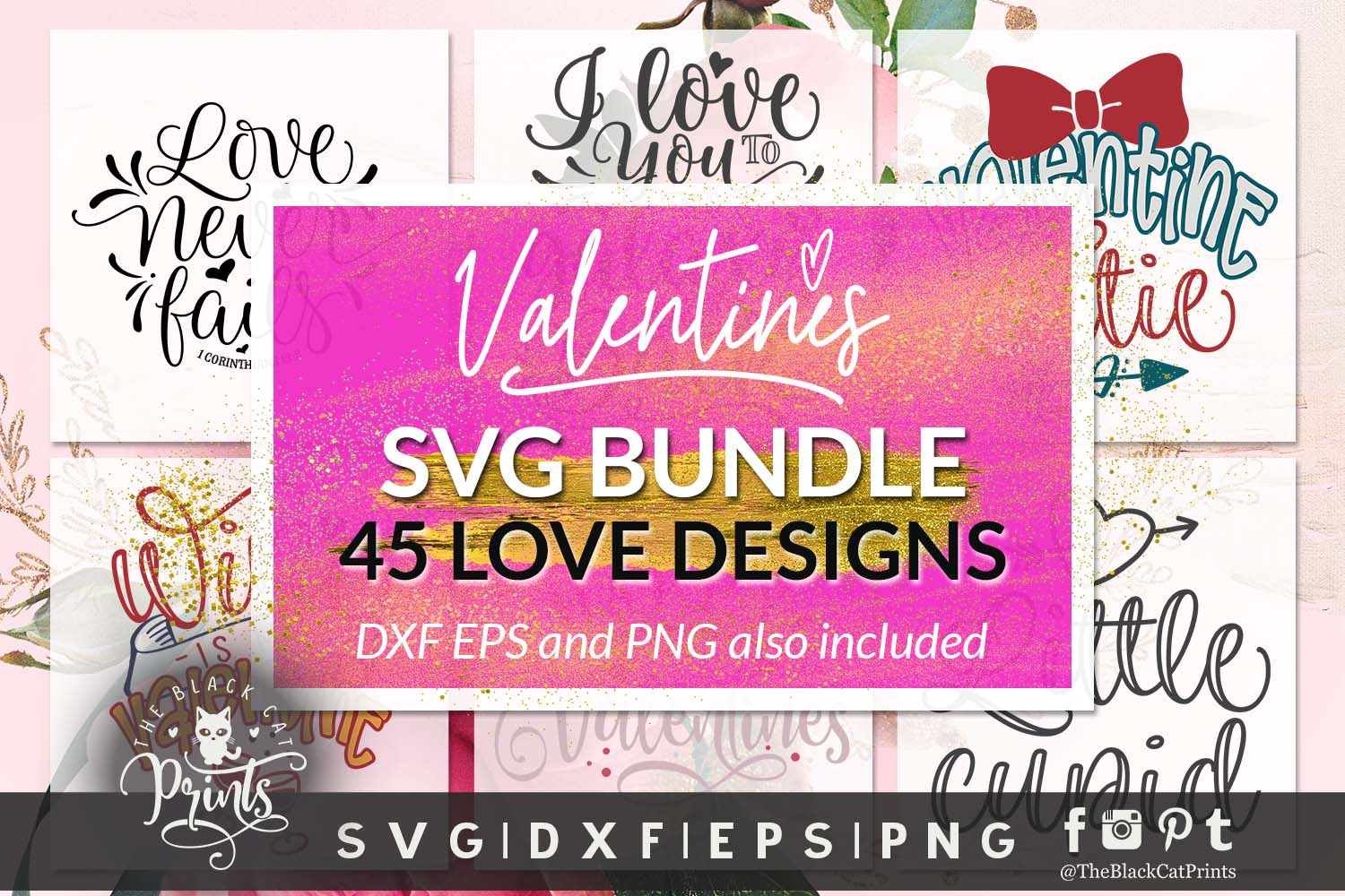 Download Free Valentine S Bundle Graphic By Theblackcatprints Creative Fabrica SVG Cut Files