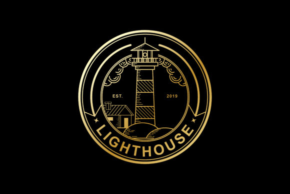Print on Demand: Vector Design Stamp of Lighthouse Golden Color Graphic Graphic Templates By sabavector