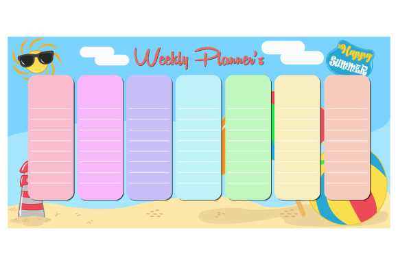Print on Demand: Vector Weekly Planner with Summer - Vector Graphic Print Templates By iop_micro
