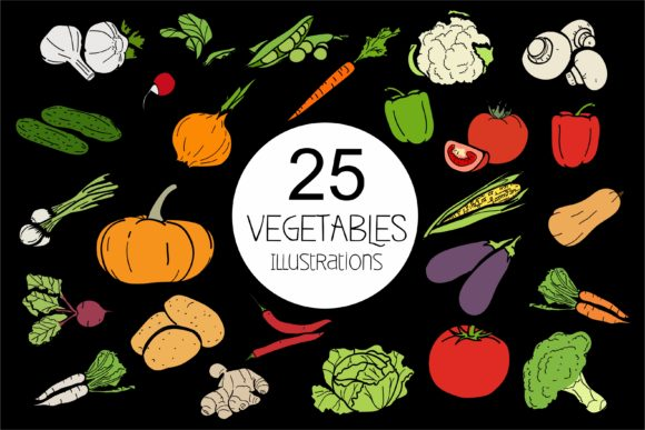 Print on Demand: Vegetables 25 Different Types of Garden Plants Graphic Crafts By bywahtung