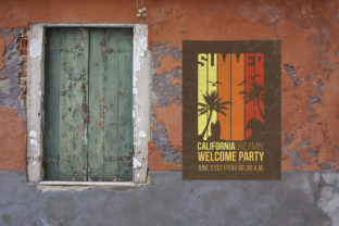 Print on Demand: Venice Old Red Wall | Poster Mockup Graphic Product Mockups By SmartDesigns