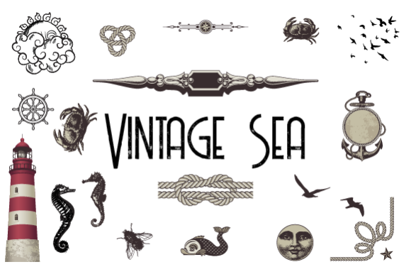 Vintage Pack of the Sea Graphic Illustrations By hamelinckmichael
