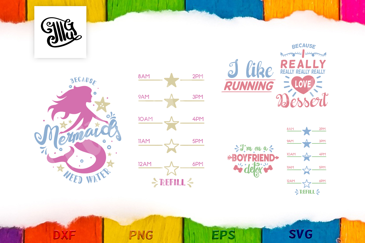 Ultra Water tracker svg bundle with mermaid, detox and I like running WZ49