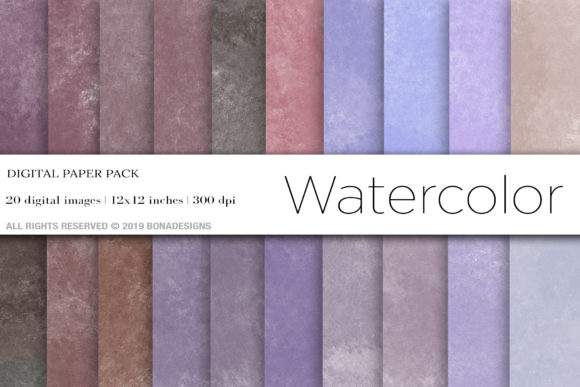 Watercolor Digital Papers Graphic Backgrounds By BonaDesigns