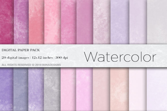 Watercolor Digital Papers Graphic Backgrounds By BonaDesigns - Image 1