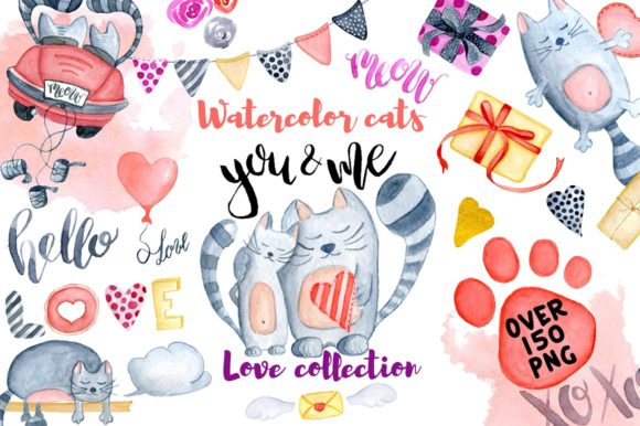 Watercolor Valentines Day Cats Graphic Illustrations By EvgeniiasArt