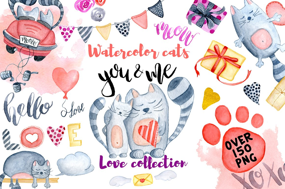 Download Free Watercolor Valentines Day Cats Graphic By Evgeniiasart for Cricut Explore, Silhouette and other cutting machines.
