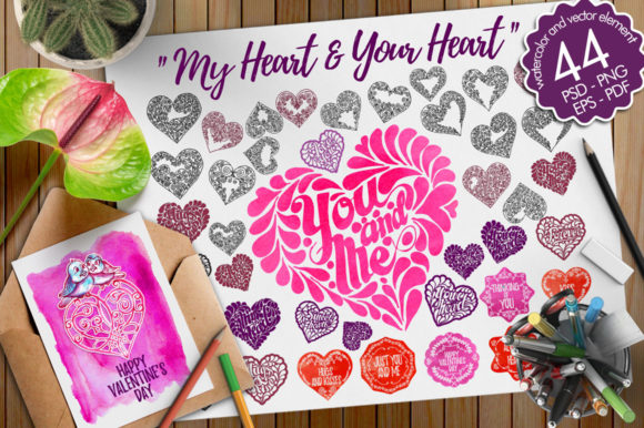 Watercolor and Vector of Heart Graphic Illustrations By Graphobia