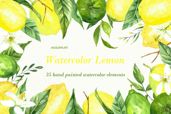 Print on Demand: Watercolor Clipart Fresh Lemon Set Graphic Illustrations By Angela Pylypenko