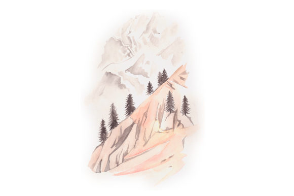Watercolor Mountain Nature & Outdoors Craft Cut File By Creative Fabrica Crafts