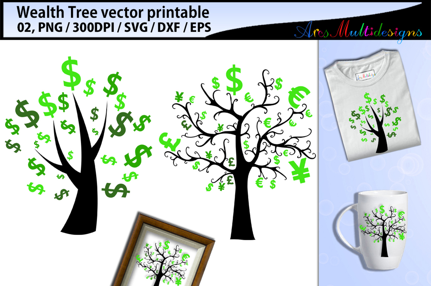 Download Free Wealth Tree Clipart Svg Graphic By Arcs Multidesigns Creative for Cricut Explore, Silhouette and other cutting machines.
